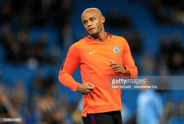 Manchester City's Vincent Kompany warms up during the Group F match of the UEFA Champions League between Manchester City and Olympique Lyonnais at...