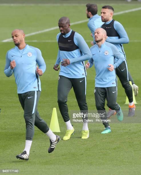 Manchester City's Vincent Kompany Yaya Toure David Silva and Nicolas Otamendi during the training session at the CFA Manchester