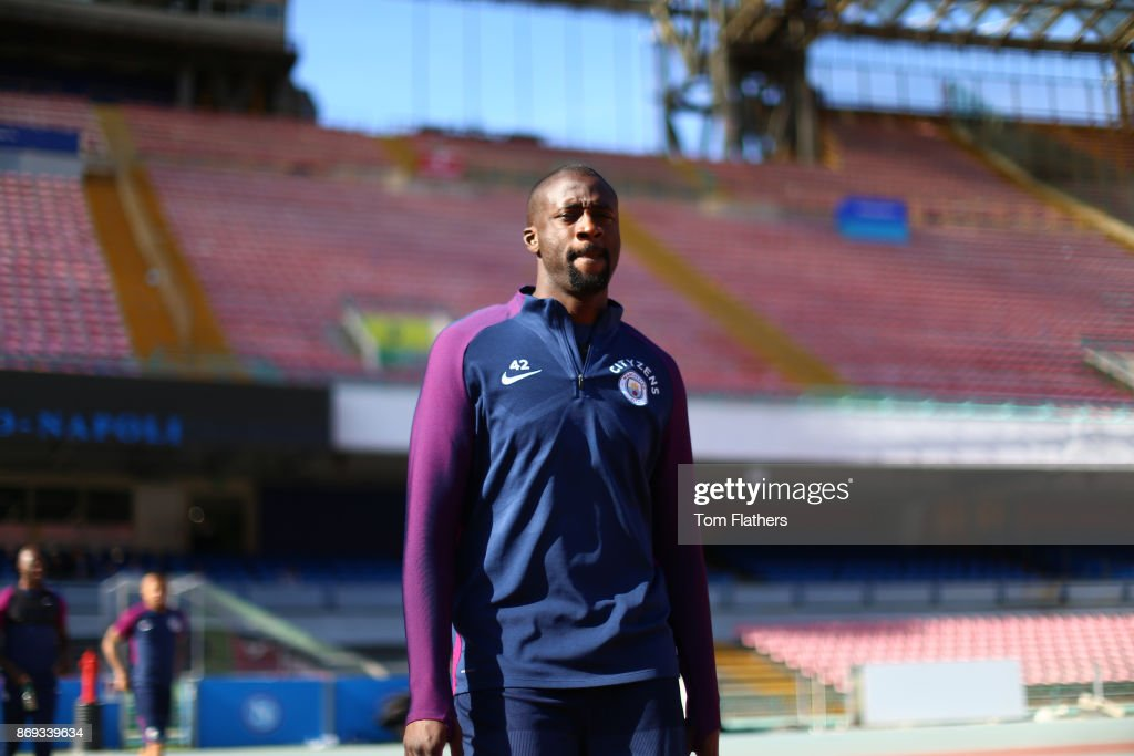 Manchester City's Yaya Toure during training at Stadio San Paolo on November 2, 2017 in Naples, Italy.