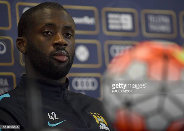 Manchester City's Yaya Toure looks on during a press conference ahead of a team training session at the International Champions Cup football...