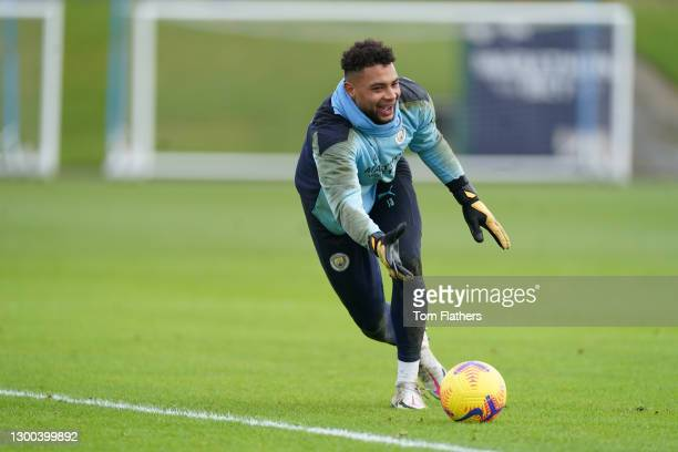 Manchester City's Zac Steffen in action during training at Manchester City Football Academy on February 04, 2021 in Manchester, England.