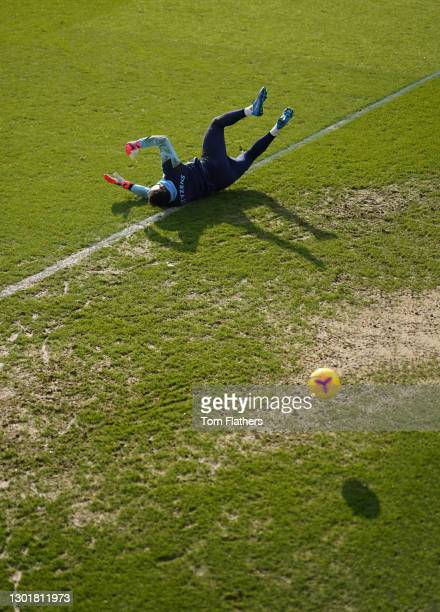Manchester City's Zac Steffen in action during training at Manchester City Football Academy on February 12, 2021 in Manchester, England.