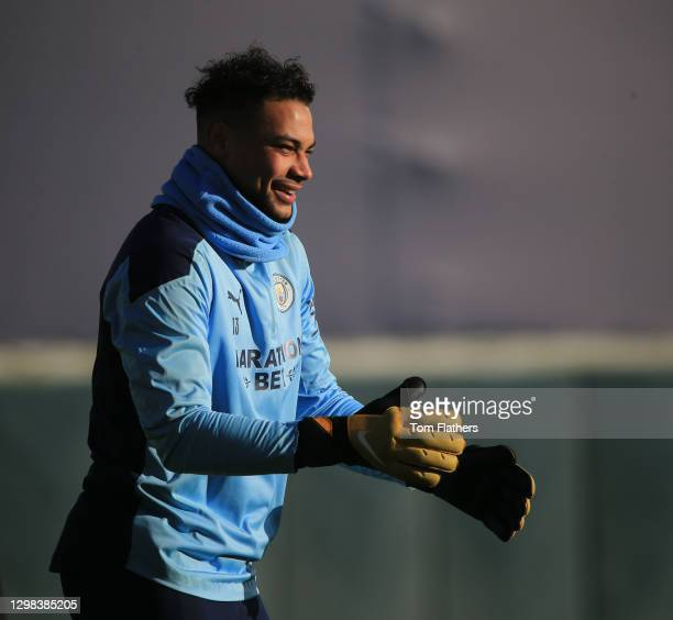 Manchester City's Zack Steffen in action during training at Manchester City Football Academy on January 25, 2021 in Manchester, England.