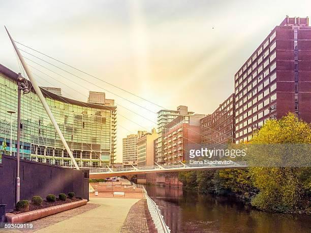 Manchester cityscape river Irwel