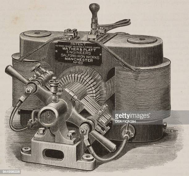 Manchester electric dynamo to power 200 incandescent lamps produced by Mather Platt Salford Iron Works Manchester United Kingdom illustration from...