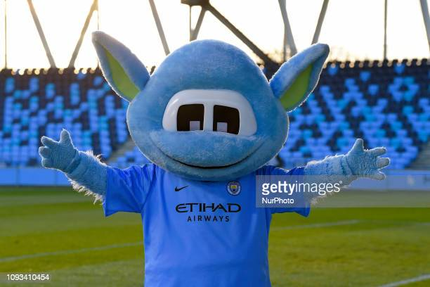 Manchester England 03rd February Manchester Citys male mascot during the SSE Women's FA Cup fourth round football match between Manchester City Women...