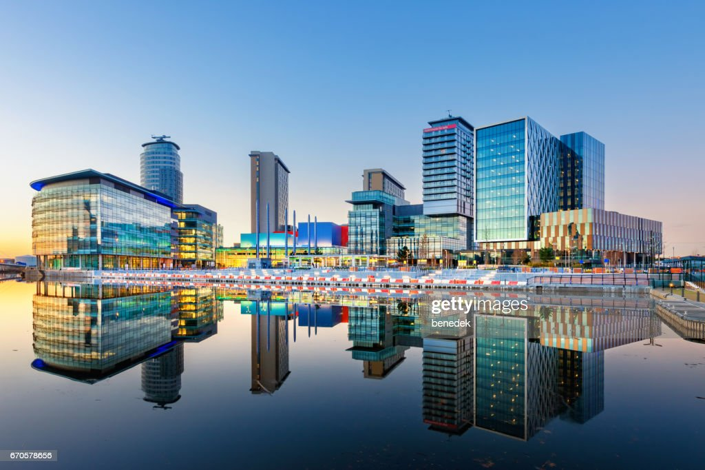 Manchester England Salford Quays Office Buildings and Apartments : Stock Photo