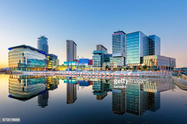 manchester england salford quays office buildings and apartments - manchester uk stock photos and pictures