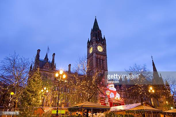 manchester, england, uk, christmas market - manchester uk stock photos and pictures