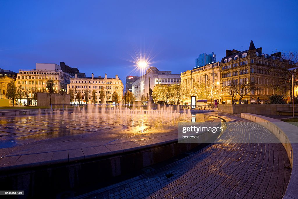 Manchester  England UK Fountain at Piccadilly Gardens : Stock Photo