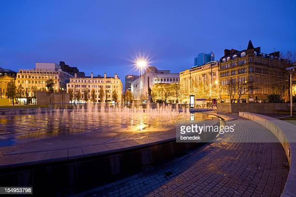 manchester  england uk fountain at piccadilly gardens - manchester uk stock photos and pictures