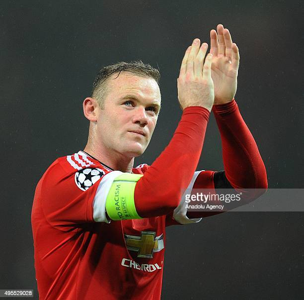 Manchester EnglandNovember 03 2015Manchester United's matchwinner Wayne Rooney acknowledges the applauses from the fans after their UEFA Champions...