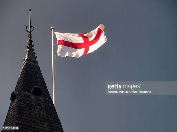 manchester, english flag at the town hall - england flag stock photos and pictures