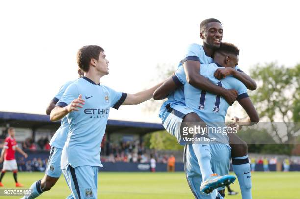 Manchester FA Senior Cup Final Manchester United v Manchester City Ewen Fields Manchester City players celebrate Jordi Hiwula's goal assisted by...