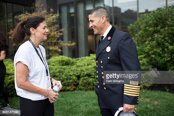Manchester Fire Chief Dan Goonan and Sen Kelly Ayotte RNH attend the 9/11 Memorial Stair Climb in the Brady Sullivan Building in Manchester NH...