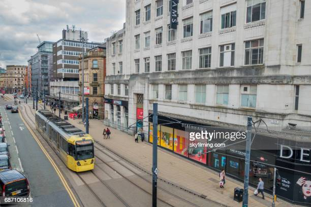 Manchester Metrolink Tram on High Street Elevated View