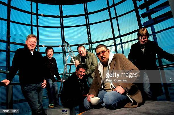 Manchester Musicians at the Urbis museum and exhibition centre Manchester November 2005 Left to right Bernard Sumner Clint Boon Stephen Morris Graham...
