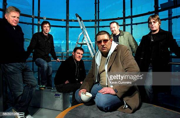 Manchester Musicians at the Urbis museum and exhibition centre Manchester November 2005 Left to right Bernard Sumner Clint Boon Stephen Morris Shaun...