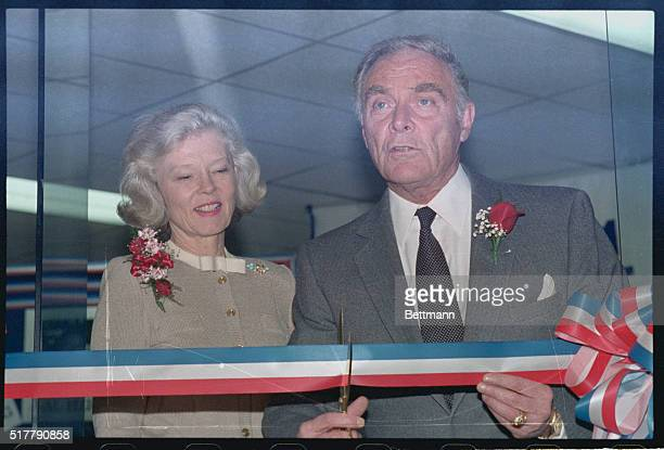Manchester New Hampshire Former Secretary of State Alexander Haig and wife Patricia cut the ribbon for President headquarters here March 24th...
