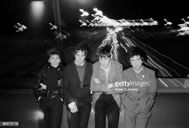 Manchester punk group The Buzzcocks 23rd November 1977 Left to right bassist Steve Garvey guitarist Steve Diggle drummer John Maher and singer Pete...