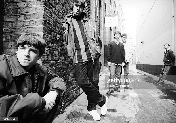 Manchester rock band Oasis London 17th March 1994 Left to right guitarist Noel Gallagher singer Liam Gallagher bassist Paul McGuigan drummer Tony...