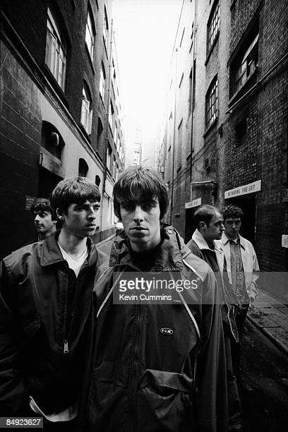 Manchester rock band Oasis London 17th March 1994 Left to right bassist Paul McGuigan guitarist Noel Gallagher singer Liam Gallagher rhythm guitarist...