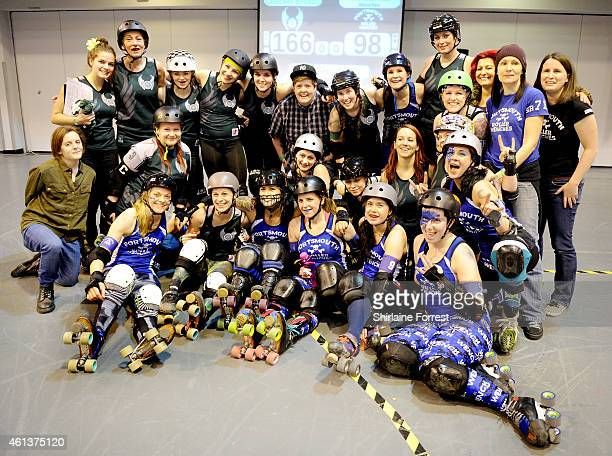 Manchester Roller Derby's Checkerbroads and Portsmouth Roller Wenches celebrate bouting in the Tattoo Freeze Roller Derby Tournament 2015 at The...