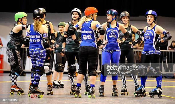 Manchester Roller Derby's Checkerbroads bout against Portsmouth Roller Wenches in the Tattoo Freeze Roller Derby Tournament 2015 at The International...