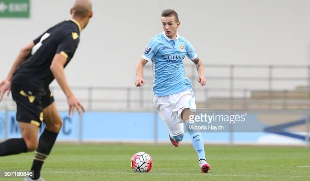 Manchester Senior Cup Final Manchester City v Bolton Wanderers Academy Stadium Manchester City's Bersant Celina on the ball