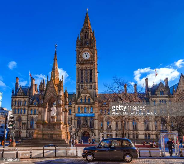 manchester, st albert square, town hall, black car, monument - town hall stock photos and pictures