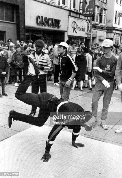 Manchester street dance crew Broken Glass in Clayton Square Liverpool demonstrating their moves 6th October 1983
