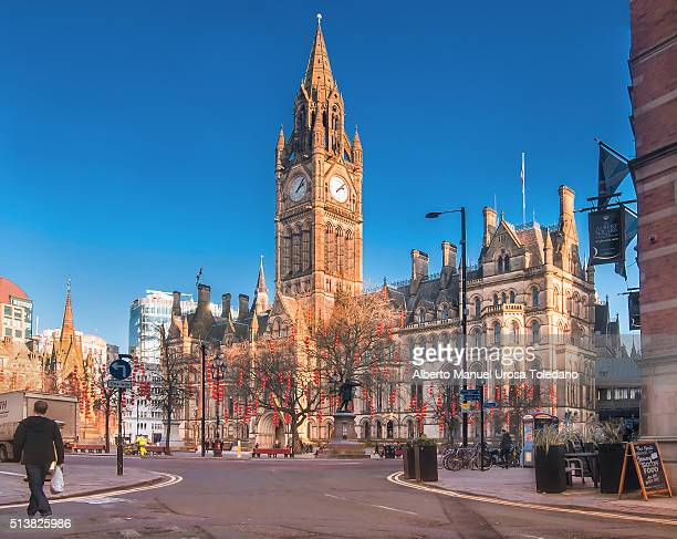 manchester, town hall, albert sq - manchester england stock pictures, royalty-free photos & images
