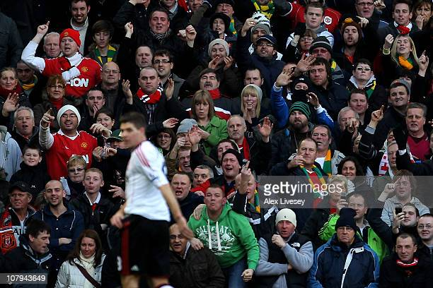 Manchester Unitd fans react as Steven Gerrard of Liverpool heads for the tunnel after being sent off during the FA Cup sponsored by EON 3rd round...