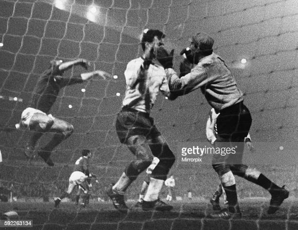 Manchester United 2 v Gornik Zabrze 0 United's Bobby Charlton leaps into the air in celebration after Brian Kidd's last gasp goal while Gornik...