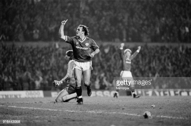 Manchester United 2-0 Arsenal, Old Division One, Old Trafford, January 24th 1987. Terry Gibson celebrates his late in the 90th minute which made the...