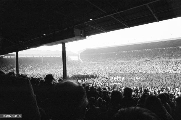Manchester United 40 Blackpool Division Two League match at Old Trafford Manchester Saturday 26th April 1975 Pitch Invasion viewed from stands at Old...