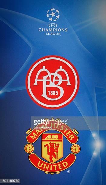 Manchester United - AAB Press Conference - Champions League logo. © Lars Rønbøg / Frontzonesport
