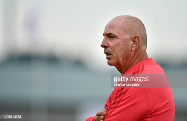Manchester United academy coach Tommy Martin during the SuperCupNI Junior section final at Ballymena Showgrounds on July 27 2018 in Ballymena...