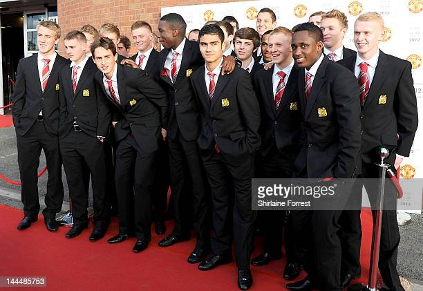 Manchester United Academy players attend the Manchester United Player Of The Year Awards at Old Trafford on May 14 2012 in Manchester England