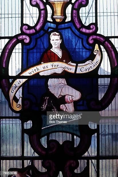 Manchester United Air Disaster, Munich, Germany, 6th FEBRUARY 1958, The memorial window at a local church in Dudley to local Munich air crash Duncan...