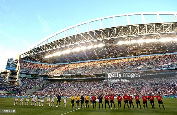 Manchester United and Celtic line up before the start of the friendly match between Manchester United v Celtic at the Seahawks Stadium 0n July 22...
