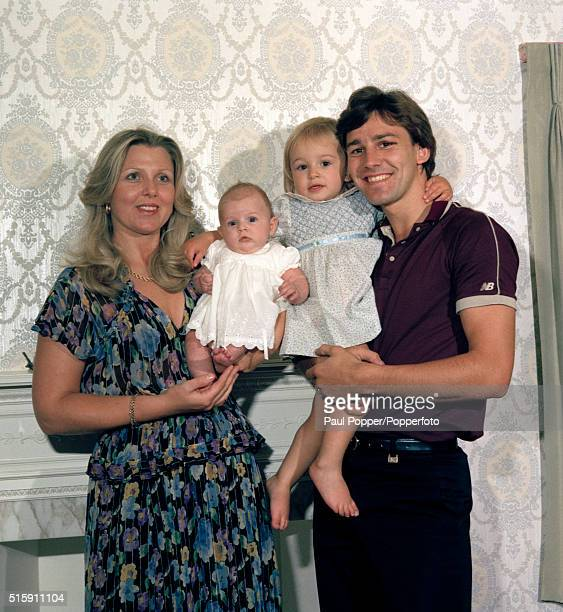 Manchester United and England captain Bryan Robson at home with his wife Denise and their daughters Charlotte and Claire in Hale near Manchester...