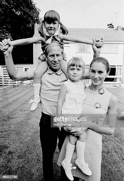 Manchester United and England footballer Bobby Charlton at home with his wife Norma and their daughters Suzanne and Andrea in Manchester circa 1970