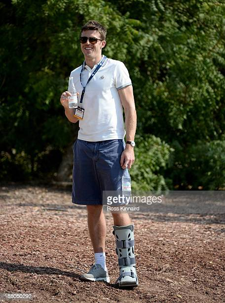 Manchester United and England footballer Michael Carrick watching Rory McIlroy during the second round of the 2013 DP World Tour Championship on the...