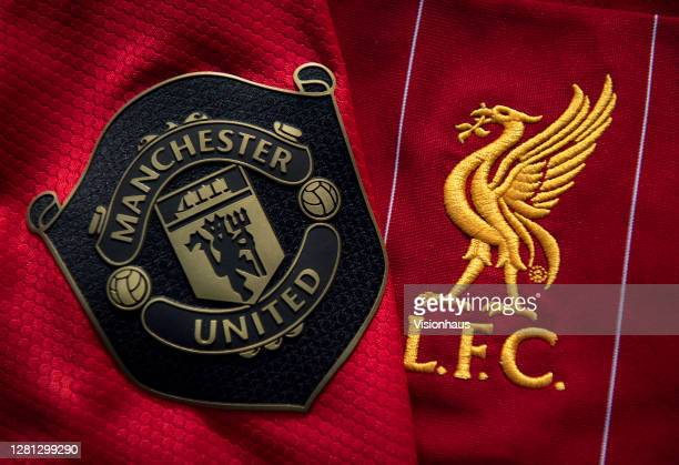 Manchester United and Liverpool Club Badges on their home shirts on October 20 2020 in Manchester United Kingdom