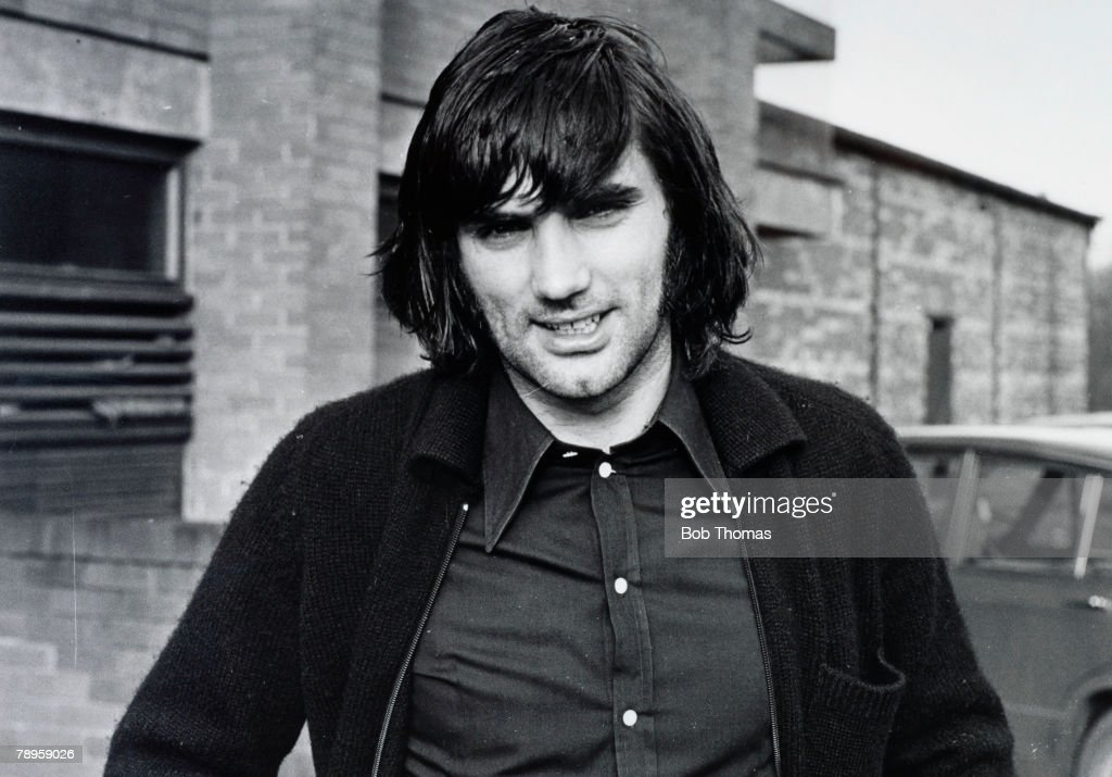 "Sport. Football. pic: 4th February 1971. Manchester United and Northern Ireland ""superstar"" George Best, one of the greatest players of all time. : News Photo"