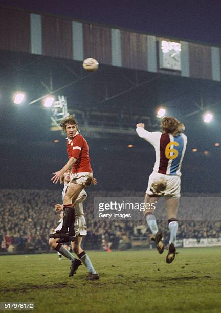 Manchester United and Wales centre forward Wyn 'the leap' Davies in action during a League Division One match between Crystal Palace and Manchester...