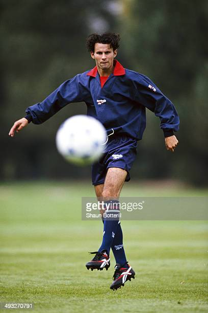 Manchester United and Wales player Ryan Giggs in action during a Reebok appearance on September 2 1993