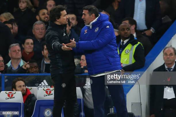 Manchester United assistant coach Rui Faria and Chelsea assistant coach Angelo Alessio have words during The Emirates FA Cup QuarterFinal match...