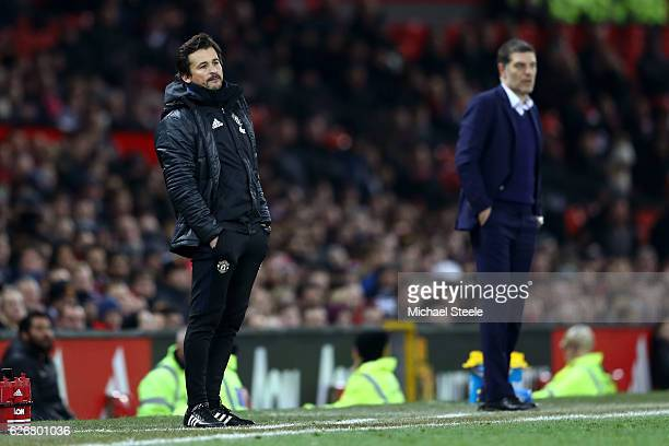 Manchester United assistant manager Rui Faria gives instructions during the EFL Cup quarter final match between Manchester United and West Ham United...